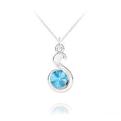 Collier Serpent Rivoli en Argent et Cristal Bleu Aigue-marine