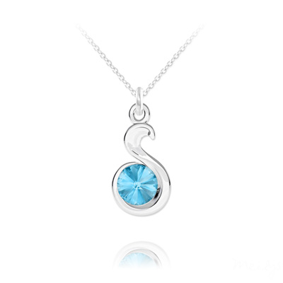 Collier en Cristal et Argent Collier Serpent Rivoli en Argent et Cristal Bleu Aigue-marine