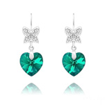 Wholesale Butterfly on Heart Silver Earrings with Swarovski Crystal - Blue Zircon