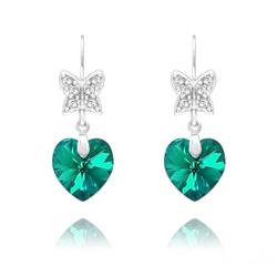 Boucles d'Oreilles en Cristal et Argent Boucles d'Oreilles Papillon sur Coeur en Argent et Cristal Bleu Zircon AB