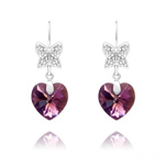 Wholesale Butterfly on Heart Silver Earrings with Swarovski Crystal - Amethyst AB