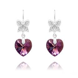 Boucles d'Oreilles Papillon sur Coeur en Argent et Cristal Améthyste AB