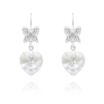 Wholesale Butterfly on Heart Silver Earrings with Swarovski Crystal - White