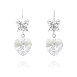 Boucles d'Oreilles en Cristal et Argent Boucles d'Oreilles Papillon sur Coeur en Argent et Cristal Blanc