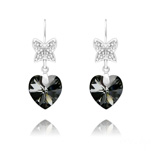 Wholesale Butterfly on Heart Silver Earrings with Swarovski Crystal - Silver Night