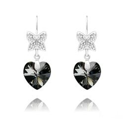Boucles d'Oreilles en Cristal et Argent Boucles d'Oreilles Papillon sur Coeur en Argent et Cristal Silver Night