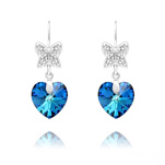 Wholesale Butterfly on Heart Silver Earrings with Swarovski Crystal - Bermuda Blue