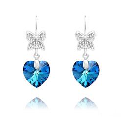 Boucles d'Oreilles Papillon sur Coeur en Argent et Cristal Bleu Bermude