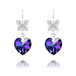Wholesale Butterfly on Heart Silver Earrings with Swarovski Crystal - Heliotrope
