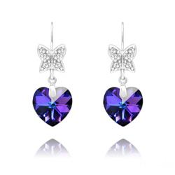 Boucles d'Oreilles en Cristal et Argent Boucles d'Oreilles Papillon sur Coeur en Argent et Cristal Héliotrope