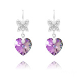 Wholesale Butterfly on Heart Silver Earrings with Swarovski Crystal - Vitrail Light