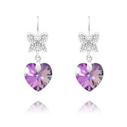 Boucles d'Oreilles Papillon sur Coeur en Argent et Cristal Vitrail Light