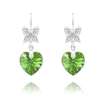 Wholesale Butterfly on Heart Silver Earrings with Swarovski Crystal - Peridot AB