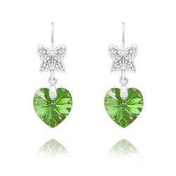 Boucles d'Oreilles en Cristal et Argent Boucles d'Oreilles Papillon sur Coeur en Argent et Cristal Péridot AB
