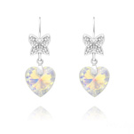 Wholesale Butterfly on Heart Silver Earrings with Swarovski Crystal - White AB