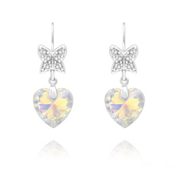 Boucles d'Oreilles Papillon sur Coeur en Argent et Cristal Aurore Boréale