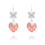 Wholesale Butterfly on Heart Silver Earrings with Swarovski Crystal - Light Rose AB