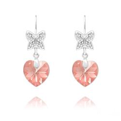 Boucles d'Oreilles en Cristal et Argent Boucles d'Oreilles Papillon sur Coeur en Argent et Cristal Light Rose Ab
