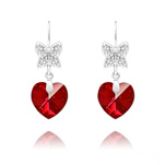 Wholesale Butterfly on Heart Silver Earrings with Swarovski Crystal - Siam AB