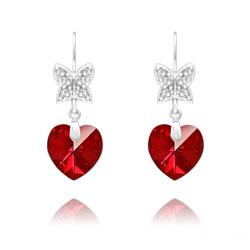 Boucles d'Oreilles en Cristal et Argent Boucles d'Oreilles Papillon sur Coeur en Argent et Cristal Rouge Siam AB