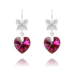 Wholesale Butterfly on Heart Silver Earrings with Swarovski Crystal - Fuchsia AB