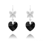 Wholesale Butterfly on Heart Silver Earrings with Swarovski Crystal - Jet
