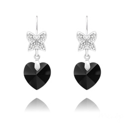 Boucles d'Oreilles Papillon sur Coeur en Argent et Cristal Jet (Noir)