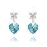 Wholesale Butterfly on Heart Silver Earrings with Swarovski Crystal - Aquamarine AB