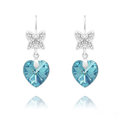 Boucles d'Oreilles Papillon sur Coeur en Argent et Cristal Bleu Aigue-marine AB