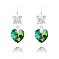 Boucles d'Oreilles Papillon sur Coeur en Argent et Cristal Vitrail Medium