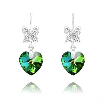 Boucles d'Oreilles en Cristal et Argent Boucles d'Oreilles Papillon sur Coeur en Argent et Cristal Vitrail Medium