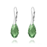 Wholesale Briolette 17mm Silver Earrings with Swarovski Crystal - Erinite