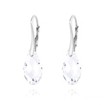 Wholesale Briolette 17mm Silver Earrings with Swarovski Crystal - White