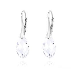 Boucles d'Oreilles Briolette 17MM en Argent et Cristal Blanc