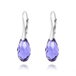 Wholesale Briolette 17mm Silver Earrings with Swarovski Crystal - Tanzanite