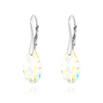 Wholesale Briolette 17mm Silver Earrings with Swarovski Crystal - White AB