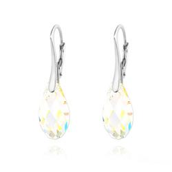 Boucles d'Oreilles Briolette 17MM en Argent et Cristal Aurore Boréale