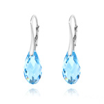 Wholesale Briolette 17mm Silver Earrings with Swarovski Crystal - Aquamarine