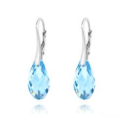 Boucles d'Oreilles en Cristal et Argent Boucles d'Oreilles Briolette 17MM en Argent et Cristal Bleu Aigue-marine
