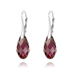 Wholesale Briolette 17mm Silver Earrings with Swarovski Crystal
