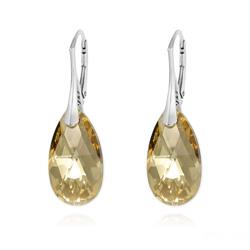 Boucles d'Oreilles Goutte 22MM v2 en Argent et Cristal Champagne