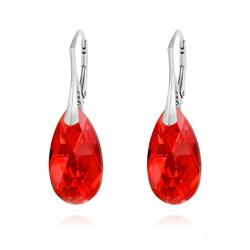 Boucles d'Oreilles Goutte 22MM v2 en Argent et Cristal Rouge Light Siam AB