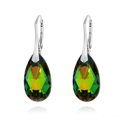 Boucles d'Oreilles Goutte 22MM v2 en Argent et Cristal Vitrail Medium