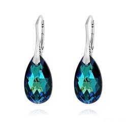 Boucles d'Oreilles Goutte 22MM v2 en Argent et Cristal Bleu Bermude