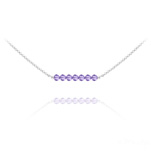 Wholesale 7 Faceted Beads 4mm Silver Choker with Swarovski Crystal - Tanzanite