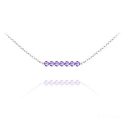 Collier en Cristal et Argent Collier Ras de Cou 7 Perles à Facettes en Cristal et Argent - Tanzanite