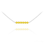 Wholesale 7 Faceted Beads 4mm Silver Choker with Swarovski Crystal - Sun Flower
