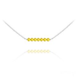 Collier en Cristal et Argent Collier Ras de Cou 7 Perles à Facettes en Cristal et Argent - Sun Flower