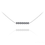 Wholesale 7 Faceted Beads 4mm Silver Choker with Swarovski Crystal - Silver Night