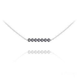 Collier Ras de Cou 7 Perles à Facettes en Cristal et Argent - Silver Night